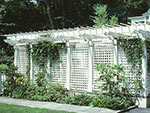 large pergola with lattice sides for privacy