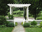 wood pergola and fence separating areas